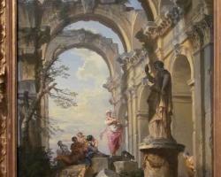 Giovanni Paolo Panini Ruins with Sibyl, 1731, Tablou cu peisaj de vara, tablou cu ruine, tablou cu oameni in peisaj Roman, tablou cu statui