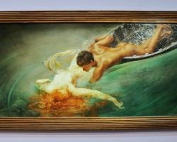 Giulio Aristide Sartorio la Sirène, Tablou cu peisaj de vara, peisaj din natura, tablou cuindragostiti  in peisaj de vara, Tablou cu femeie la inot