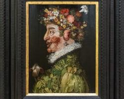 Giuseppe Arcimboldo La Primavera 1563, Tablou natura statica cu portret de barbat din fructe si legume de primavara