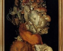 Giuseppe Arcimboldo, Savana, natura moarta cu animale salbatice, ,Tablou natura statica cu portret de barbat din animale exotice din savana