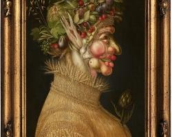 Giuseppe Arcimboldo, natura moarte cu fructe de Vara, ,Tablou natura statica cu portret de barbat din fructe si legume de vara