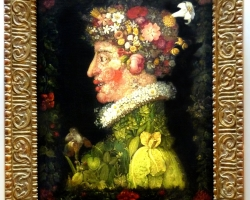 Giuseppe Arcimboldo,Tablou natura statica cu portret de barbat din fructe si legume de primavara