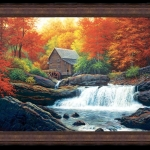 Glade Creek Grist Mill, Charles White Framed Painting. Tablou pictat manua
