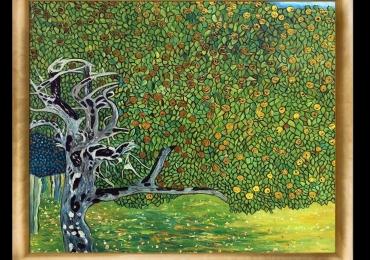 Golden Apple Tree. Luxury Line. Tablou pictat manual in ulei pe panza. Gam