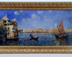 Gondola in Venice, Vintage Original Oil Painting. Tablou pictat manual in ule