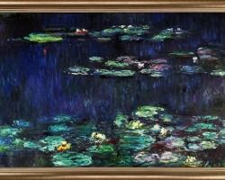 Green Reflections, Claude Monet Water Lilies, Lac cu nuferi, peisaj superb de toamna