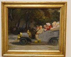 Grey and Brass, gri și alamă, tablou cu masina Fond de epoca, Tablou cu peisaj de toamna, tablou cu masina de epoca, tablou cu oameni in masina de colectie