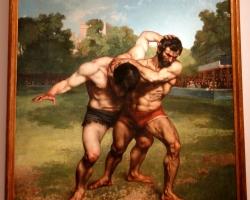 Gustave Coubet The Wrestlers, tablou cu luptatori de wrestling, tablou cu peisaj de vara, tablou cu barbati luptandu-se