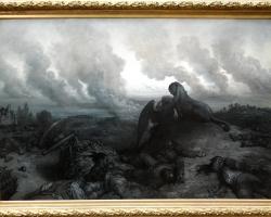 Gustave Dore, L'Enigme, 1871, tablou peisaj dramatic, tablou cu scena de razboi, Tablouri Pictori Celebri, Reproduceri Picturi Celebre