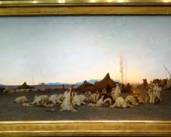 Gustave Guillaumet Priere du soir dans le Sahara, Tablou cu peisaj din Sahara, tablou cu arabi, tablou cu desert