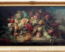 Hans Zatzka Oil on Canvas Wicker Basket of Spring Flowers, Buchet de flori in cos impletit din nuiele, tablou cu flori galbene, tablou floral