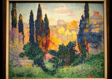 Henri-Edmond Cross, Les Cypres a Cagnes, 1908 Tablou pictat manual in ule