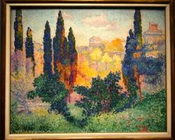 Henri-Edmond Cross, Les Cypres a Cagnes, 1908, tablou peisaj de vara superb, peisaj multicolor, Tablouri Pictori Celebri, Reproduceri Picturi