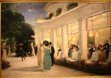 Henri Gervex O seară la Pré Catelan 1909, Tablou cu peisaj de vara, tablou cu parc, tablou cu flori, peisaj din natura, tablou cu oameni adunati la o petrecere in gardina de vara