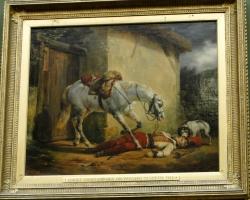 Horace Vernet, Wounded trumpeteer, Tablou dramatic, tablou cu cal, tablou cu personaj mort, tablou cu caine, Tablou peisaj rural