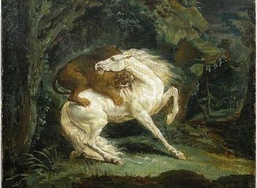 Horse Attacked by a Lion Theodore Gericault, tablou cu animale salbatice, tablouri cu anima