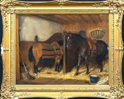 Horses In A Stable John Frederick II Herring, Tablou cu cai, tablou cu animale, tablouri living, picturi in ulei pe panza, picturi cu peisaje