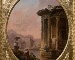 Huber Robert Le temple de Vestatablou peisaj de vara cutemplu, tablou cu ruine, tablouri Pictori Celebri, Reproduceri Picturi Celebre