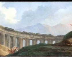 Hubert Robert, A Colonnade in Ruins, Tablou cu peisaj de vara, tablou cu ruine, tablou cu oameni in peisaj Roman, tablou cu statui
