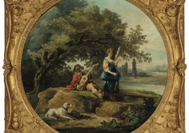 Hubert Robert, A shepherd and shepherdess, , Tablou cu peisaj de vara, tablou cu rau, tablou cu peisaj padure, peisaj din natura, tablou romantic