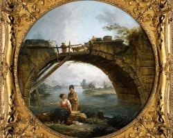 Hubert Robert, Tablou cu peisaj pastoral, tablou peisaj de vara, Reproduceri pictori celebri
