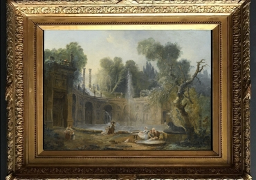 Hubert Robert, The Teatro Delle Acque in the Garden of the Villa, Tablou cu peisaj de vara, tablou cu ruine, tablou cu oameni in peisaj Roman, tablou cu statui