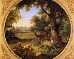 Hubert Robert,  tablou peisaj de vara, Reproduceri pictori celebri, Pictura Peisaj cu caprioare