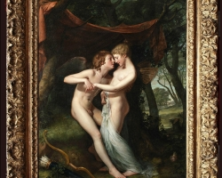 Hugh Douglas Hamilton, Cupid and Psyche in the nuptial bower, Tablou cu scena mitologica, tablou cu indragostiti, tablou cu femeie si barbat nud, tablou cuplu nud