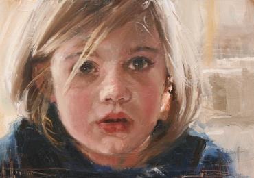 Idei de cadouri creative, portrete la comanda, Tablou pictat pe panza, portret de fetita blonda.
