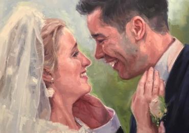 Idei de cadouri creative, portrete la comanda, Tablou pictat pe panza, portret de nunta