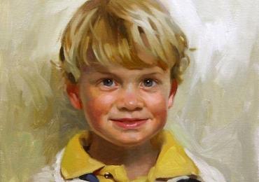 Idei de cadouri handmade, portrete la comanda, Tablou pictat pe panza, portret de baietel cu parul balai