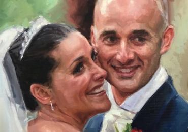 Idei de cadouri handmade, portrete la comanda, Tablou pictat pe panza, portret de mireasa, portret de nunta