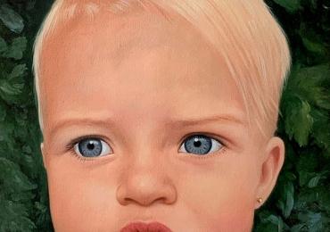 Idei de cadouri ocazie deosebita, portrete la comanda, Tablouri pictate portrete, portret de copil cu ochii albastrii