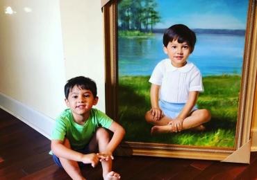 Idei de cadouri pentru cei dragi, portrete la comanda, Tablou pictat manual, portret de copil
