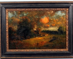 Impressionist Cow Barbizon Landscape Painting, Tablou cu peisaj de toamna, tablou cu peisaj din natura, tablou cu padure