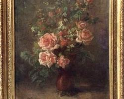 Impressionist Oil Painting Bouquet Roses Henri Fantin Latour, Vas cu fiori de trandafiri, tablou cu trandafiri roz, tablou cu flori de toamna, tablou floral
