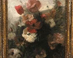 Impressionist Still Life Of Flowers Anemones Antique, Buchet de flori, tablou cu floride anemone in vaza, tablou floral