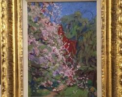 Impressionist oil painting depicting spring blossoms by Emily Nichol Hatch, Peisdaj cu ramuri de flori, tablou cu flori in gradina, tablou floral