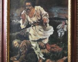 Ion Rascoala, reproducere celebra Bancila Recrutul  tablou pictat in ulei pe panza 61×50 cm