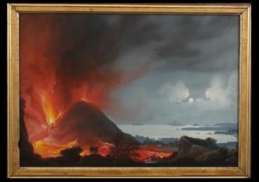 Italian PaintingErupting vulcano Moon, Tablou cu peisaj marin, tablou cu vapoare tablou nautic, tablou cu malul marii, tablou cu vulcan