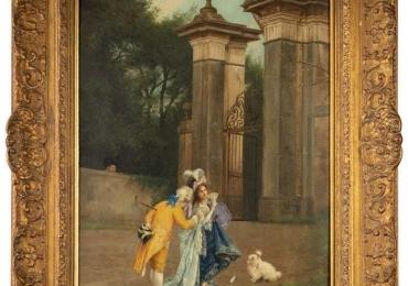 Italian Polychrome Painting of Lovers in Courtyard and Dog, Spiridon, Rome, 1872, Tablou cu peisaj de vara, tablou cu ruine, tablou cu oameni in peisaj Roman, tablou cu statui