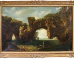 Italian Seascape Painting, 1880, Tablou cu peisaj marin cu vapoare tablou nautic, tablou cu malul marii 19th C Oil on Canvas
