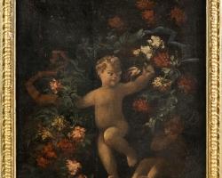 Italian master of the eighteenth century, floral still lif, Tablouri cu ingeras si flori Realizate la Co