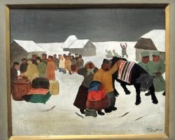 Ivan Generalic Requisition, Tablou cu peisaj de iarna, tablou cu oameni, tablouri living, picturi in ulei pe panza, picturi cu peisaje