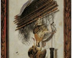 Jacob Biltius, Dead wildfowl, a huntsman's net in a trompe l'oeil frame 1679, Tablouri cu obiect