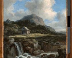 Jacob van Ruisdael  Mountain waterfall. Tablou pictat manual in ulei pe panz