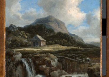 Jacob van Ruisdael  Mountain waterfall. Tablou pictat manual in ulei pe panz