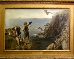 James Clarke Hook, the Bonxie, Shetland, Tablou cu peisaj marin,  tablou cu copii la malul marii