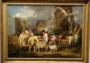 James Ward, Sheep Salving, Tablou cu peisaj de vara, tablou cu ciobani, tablou cu oi, tablou cu tunsul oilor