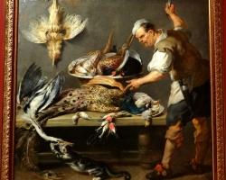 Jan Boeckhorst, Cook at a kitchen table with dead game,tablou cu natura moarta, tablou cu animale vanate, tablou vanatoresc, tablou vanatoare